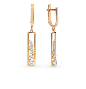 Earrings Rose Gold 14K Russian fine jewelry zirconia 585 2.73g NEW with tag long