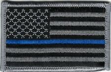 Grey Gray Black Law Enforcement Police Blue Stripe Thin Blue Line US Flag Patch