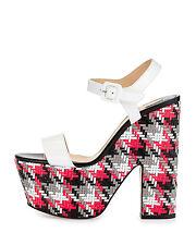 Christian Louboutin Bella Tige Woven Patent Platform Sandals EU 37.5 US 7.5 $995
