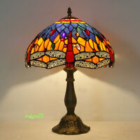 Tiffany style dragonfly stained glass table lamp 12inch shade desk reading light