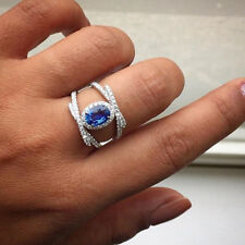 Oval Cut Blue Sapphire Ring Size 6 Elegant Wedding Rings for Women 925 Silver