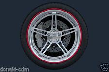 """Set 4 anelli in ABS di protezione cerchi in lega,look sportivo, misura 18"""" rosso"""