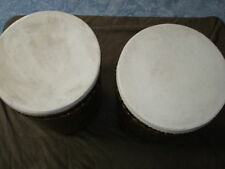 3 ANTIQUE WOODEN BLACK DRUMS/ TABLES