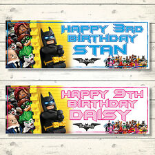 2 PERSONALISED LEGO BATMAN MOVIE BIRTHDAY BANNERS - BOY OR GIRL - 3ft x 1ft