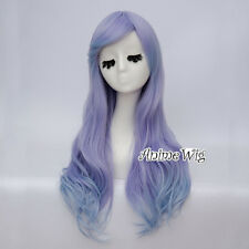 65CM Lolita Blue Mixed Purple Long Wavy Women Party Cosplay Wig Heat Resistant