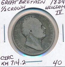 GREAT BRITAIN HALF CROWN 1834 WILLIAM IV KM714.2 - CIRC