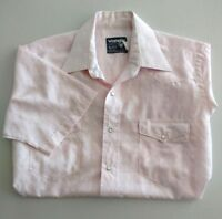 Vintage Wrangler Mens Pink Pearl Snap Shirt Short Sleeve Textured Western M 15.5