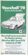 Vauxhall Range Original UK  Price  List 1978