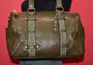 COLE HAAN 'CAMDEN JADE' Green Leather Woven Belted Shoulder Barrel Purse Bag