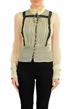 Just Cavalli Women's 100% Silk Long Sleeve Blouse Top US S IT 40