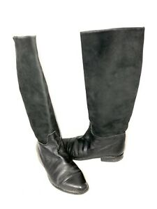 Women's 7 Black Suede Leather Riding Tall Boots Made in Italy