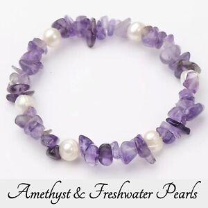 Amethyst Pearl Bracelet Crystal Gemstone Love Reiki Healing Chakra Anxiety