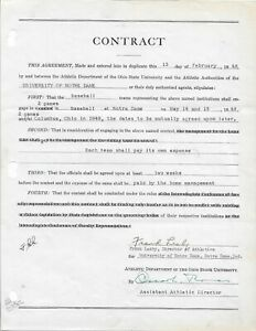 FRANK LEAHY SIGNED CONTRACT NOTRE DAME FOOTBALL COACH PSA/DNA AUTHENTICATED