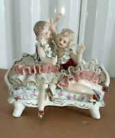 """Antique German Style Porcelain Figurine, Twin Sisters, 5.25"""" H."""