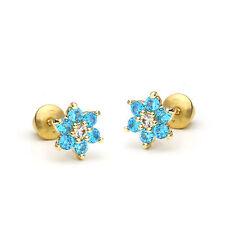 14k Gold Plated December Flower Children Screw Back Baby Girls Earrings
