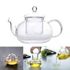 Heat Resistant Clear Glass Teapot With Infuser Coffee Tea Leaf Herbal Pot 400ML