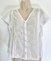 NWT Ann Taylor Loft Women White Eyelet Flutter Top Button Shirt Blouse S M L XL