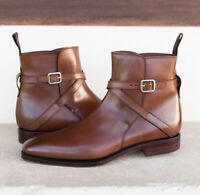 Handmade Brown jodhpurs Leather Boots, Men Buckle Stylish Dress Formal Boots