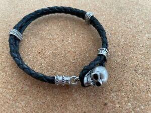 Genuine Thomas Sabo Silver Black Leather Skull Bracelet – 19 cm