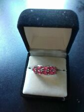 Silver Plated Dress Ring With Pink Raspberry Garnet colored Stones. SizeR