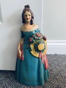 Antique Cast Iron Figural Doorstop - Victorian Woman Blue Dress