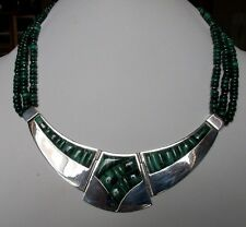 RARE MUSEUM QUALITY JAY KING MINE FINDS STERLING & MALACHITE COLLAR NECKLACE