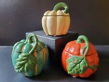 Yankee Candle Fall Halloween Pumpkin Gourd Tealight Holders Set of 3 NWT