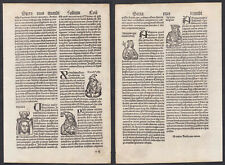 Incunable leaf CVII Schedel Nuremberg Chronicle Augsburg 1496 woodcuts