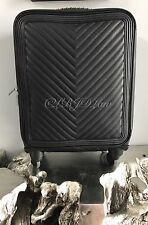 """NWT CHANEL BLACK CHEVRON CALF CAVIAR LEATHER TROLLEY SPINNER SUITCASE 21"""" SILVER"""