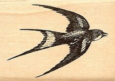 Swallow Flying Bird Wood Mounted Rubber Stamp JUDIKIN S3767D New