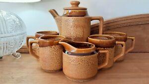 Vintage Retro Drip Glazed Ceramic Coffee Pot Tea Set Mugs Milk Jug Japan 1960s