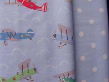 Cath Kidston bundle 2 * 34cm square vintage planes & large spots blue cotton new