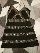 Topshop Black And Gold Bandage Dress Size 12 new year christmas