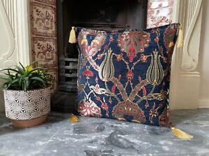 Navy Tulip Patterned Chenille Cushion Cover, Bohemian Throw Pillow, 40x40cm