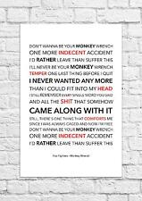 Foo Fighters - Monkey Wrench - Song Lyric Art Poster - A4 Size
