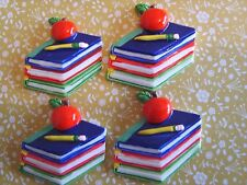 4 x Apple LIBRO BACK TO SCHOOL Flatback Cabochon in Resina Abbellimento Crafts UK
