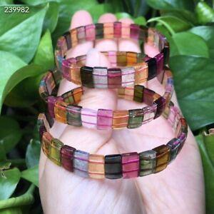 Genuine Natural Colorful Tourmaline Rainbow Rectangle Beads Bracelet 9mm AAAAA