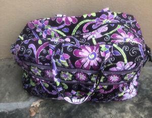Vera Bradley Large Duffle Bag in the Plum Petals Pattern Mint