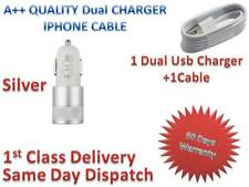 SUPER FAST Dual Car Charger + Charging USB Cables For  Apple iPhone 7/6S/6/5S