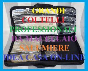 SET GRANDI COLTELLI  PROFESSIONALI IN ACCIAIO INOX  X MACELLAIO SALUMIERE CUCINA