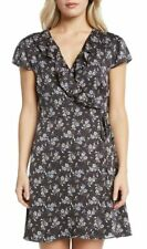 WILLOW & CLAY $99 Black Floral Ruffle Wrap Dress Large (L 12/14) NWT