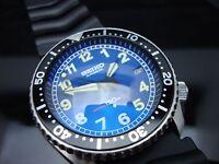 Vintage Seiko 7002 XX MEGA MOD BLUE RAIL BB BLUE SAPPHIRE CRYSTAL 150m H18