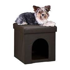 Relaxdays – asiento con casa para mascotas hecho de cuero Artif(marrón)