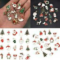 Christmas Santa Claus/Tree/Jingle Bell/Snowman Enamel Charm Pendant Crafts 20Pcs
