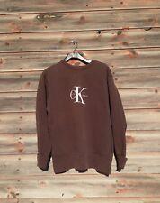 Vintage Calvin Klein Logo Sweatshirt Size Small Brown Spellout CK