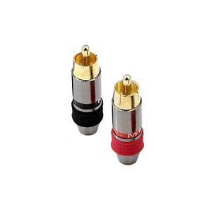 2x Metel RCA Phono Male Plug Non Solder Solderless Connector Adapter Terminal AV