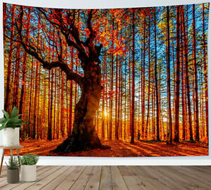Autumn Sunny Forest Tapestry Golden Yellow Scenery Wall Hanging Bedspread Cover