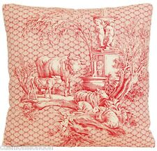 "Red Cushion Cover Les Enfants Peter Afia Marvic Fabric Printed Cotton 16"" Square"
