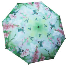 Beautiful Automatic-Opening Folding Hummingbird Umbrella with Pink Gladiolus
