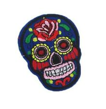EMBROIDERED APPLIQUE - IRON ON - BLUE SKULL WITH ROSES.........A016